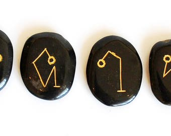 Black Jasper Archangel Crystal Stone Engraved Set  Gift Wrapped!