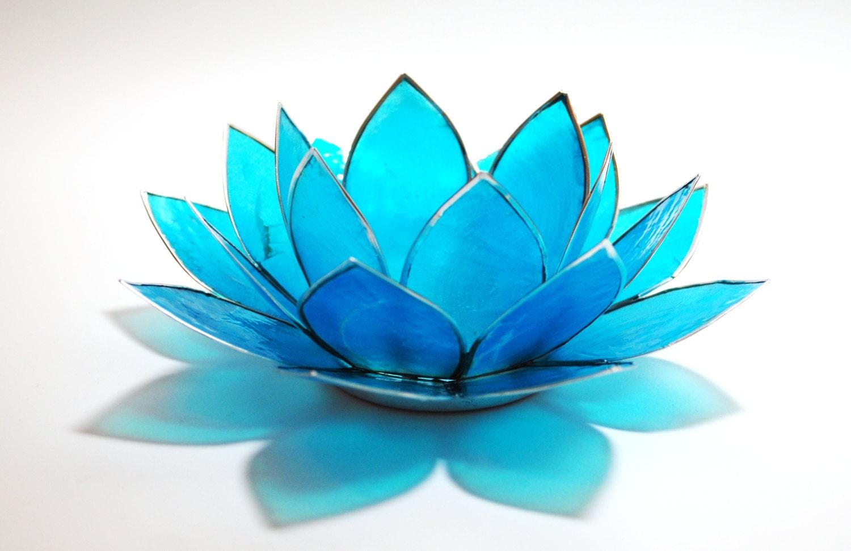 Natural capiz shell aquamarine blue lotus tealight holder - Capiz shell tealight holder ...