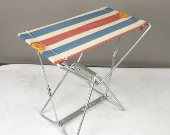 Vintage 1960s Era Steel Frame Red White & Blue Folding Camping / Fishing Chair