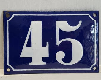 Antique French enamel HOUSE DOOR NUMBER Blue and white 45