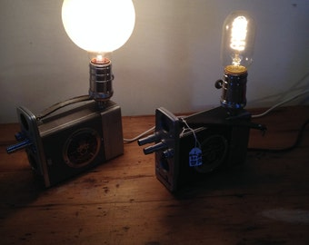 Upcycled Bell & Howell 16mm camera lamps - matching pair