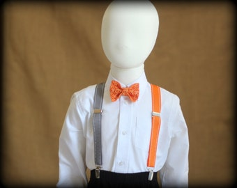 Orange suspender and bow tie. Boys suspender set. Bow tie and suspenders for boys.  Toddlers - Baby suspender and bow tie. Orange theme