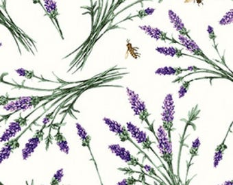 Floral Fabric / Flutter Fabric by Clothworks Y2129-2 /  Lavender on Cream on Gray Fabric / Fat Quarters and By The Yard