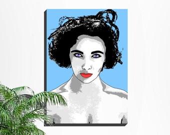 Contemporary Art, Fashion Art, Digital Pop Art, Elizabeth Taylor Wall Art, Liz Taylor, Hollywood Icons, Ready to Print, Violet Eyes