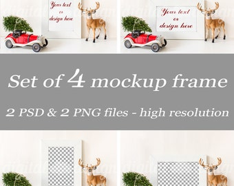 Red Vintage Car Set Styled Stock Photography Christmas Tree Deer Mockup Download Frame Bundle Empty Product Digital Background