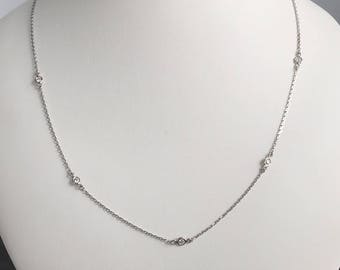 "14k solid gold diamond station necklace , 5 diamonds , 0.25 carats total diamond weight , 16""+1""+1"" adjustable, 18"" long"