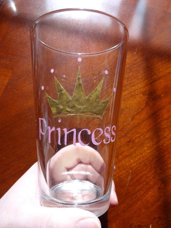 """Painted glass tumbler with """"Princess"""" in pink and a gold and pink crown/tiara"""