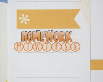 36 Homework Daily Habit Stickers  | Planner Stickers designed for use with the Erin Condren Life Planner | 0695