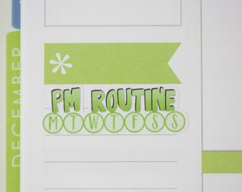 36 PM Routine Daily Habit Stickers  | Planner Stickers designed for use with the Erin Condren Life Planner | 0689