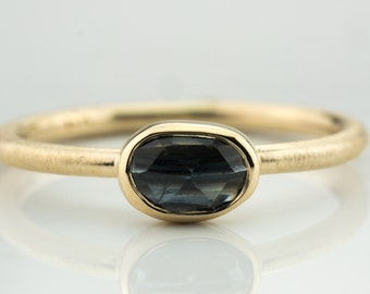 Blue sapphire stacking ring, gold sapphire stack ring, blue stone ring, blue sapphire ring, greenish blue sapphire, blue stacking gold ring