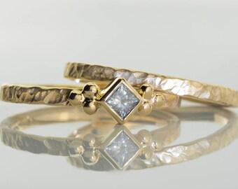 Stacking Diamond ring, Diamond engagement ring, princess cut diamond gold ring, 14K gold stacking diamond ring, engagement diamond gold ring