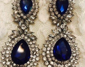 Regal Royal Sapphire Blue and Clear Statement Rhinestone Dangle Earrings... Pageant / Wedding / Bridal /Bride / Evening / Prom