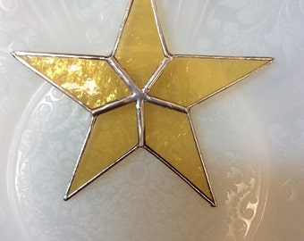 Stained Glass Gold Star Sun Catcher Ornament