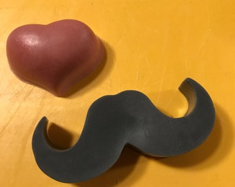 Heart and Mustache Soap Duo, Valentine's Day Gift Soap Set, Wedding Soap Gift Set, Wedding Gifts, Party Favors