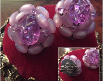 Vintage Cluster Clip on Earrings Pink and Light Purple Beads