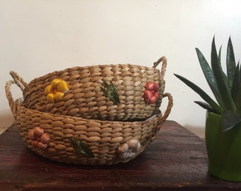 Vintage Woven Raffia Straw Baskets Set of Two