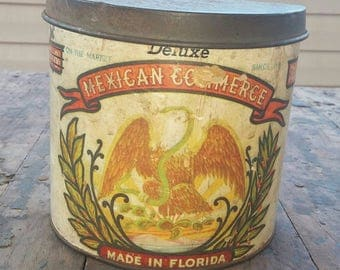 Mexican Commerce, Cardboard Tobacco Tin, Rare