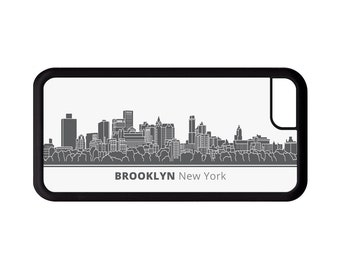 Brooklyn New York Skyline Personalized Phone Case - iPhone 7, 6, 6s Plus, 5c, 5 5s SE, Galaxy S8 S8 Plus S7 S6 Edge S5, rubber cover, NY