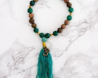 Handmade, one-of-a-kind Bracelet with Malachite, Sandalwood & Om Charm
