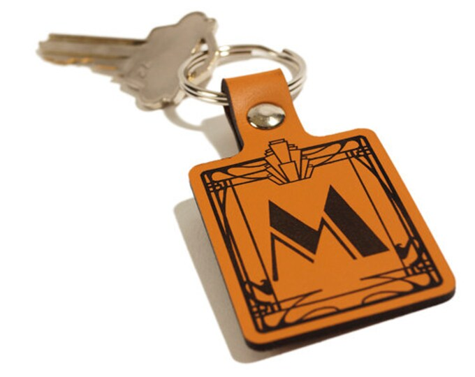 "ART DECO KEYRING – Initial ""M"" Keyring – Laser Engraved Leather Keychain"