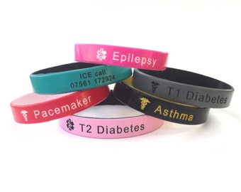 Personalized Silicone Wristband Medical Alert ID Bracelet Custom Personalised engraved ICE adult kids children diabetes epilepsy allergy