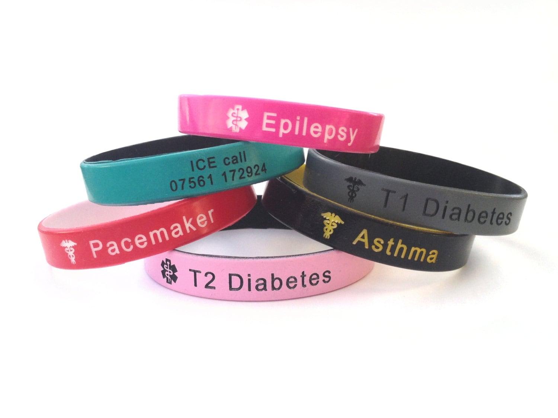 Personalized Silicone Wristband Medical Alert Id Bracelet