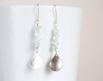 Aquamarine Earrings, Aquamarine and Silver Drop Earrings, Silver Teardrop Dangle Earrings