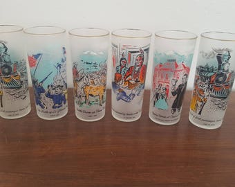 Colorado Themed Frosted Highball Glasses - Set of 6