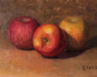 Trio of Fuji Apples - Unframed - 5x7 oil painting