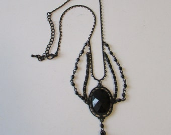 Vintage Revival Black Mourning Chain Necklace