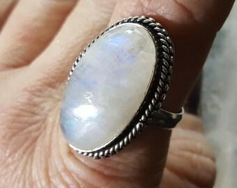 Rainbow Moonstone Ring - Size 9.25