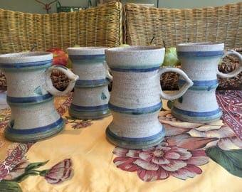 4 Mugs Ceramic Mugs Coffee Mugs Pottery Mugs Handmade Signed Pottery Mugs Blue Decor Blue Kitchen Coffee Cups Set of Mugs Vintage Mugs