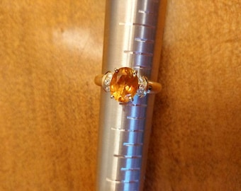 Vintage 14k Gold, Diamond & Citrine Gemstone Ring Sz 7