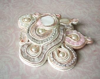 White brooch Pink Cream brooch Bead brooch Pearl brooch Bead embroidery brooch Her Gift ideas OOAK brooch Wedding brooch Mothers day gift