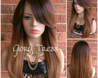 ON SALE // Long & Straight Lace Front Wig, 100% Human Hair Blend Wig, Ombre Dark Blonde Wig // LOVELY (Free Shipping)