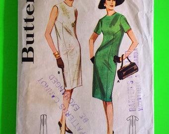 "60s Sheath Mad Men DRESS, Size 16, Bust 36"", unprinted, factory pre-cut, Butterick 3004."