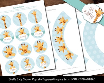 Giraffe Baby Shower Cupcake Toppers/Wrappers Set, Giraffe Baby Shower Cupcake Toppers, Giraffe Baby Shower Printables