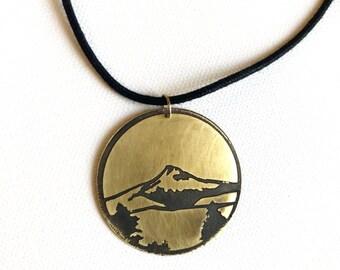 Mt Hood Cord Necklace, Made in Oregon, Bridges of Portland, Brass Etched Necklace, Adjustable Corded Necklace, Hand Forged Necklace