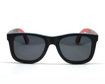 Skateboard Sunglasses Skate Wood Sunglasses Gray Wayfarer Accessories Eco Friendly Charity Wood Mens Sunglasses Womens Sunglasses Do Good