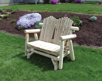White Cedar Log 5 Foot Adirondack Glider Loveseat Bench - Amish Made in the USA - Model# WWR-05-019WC - Free Shipping!