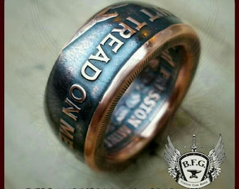 Don't Tread On Me, Give Me Liberty Or Give Me Death, Handcrafted Copper Ring 1oz Copper
