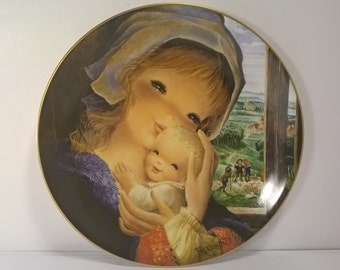 "Vintage Decorative Wall Plate""Pastoral Mother and Child"" by Juan Ferrandiz"