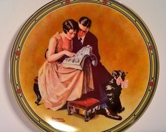 """Vintage Decorative Wall Plate """"A Couple's Commitment"""" by Norman Rockwell"""