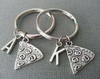 Set of 2 Best Friend Pizza Keychain / BFF Keychain / Girlfriend keychain / Boyfriend Keychain