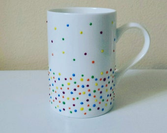 Tea coffee large ceramic mug, hand painted, Sunny rainbow dots