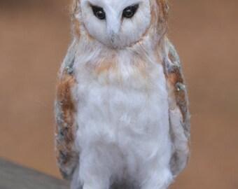 Barn Owl wool felted handmade bird