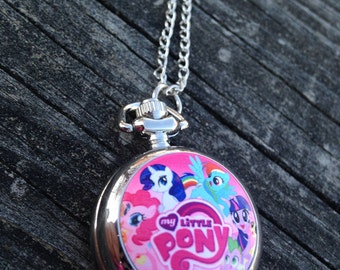 Little pony necklace etsy little pony pocketwatch my little pony jewelry girl watch pony necklace watch mozeypictures Images