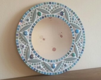 Round Mosaic Wall Mirror 30cm in Pale Teal/Green &Turquoise