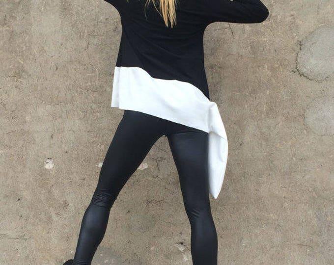 Casual Oversized Cotton Tunic, Asymmetric Long Sleeveless Tunic, Plus Size Tunic, Extravagant Top by SSDfashion