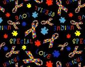 Autism Awareness Knit Fabric, Autism Fabric Ribbon, Autism Puzzle Piece Fabric, Autism Puzzle Fabric, Jersey Knit Fabric, Bamboo Lycra